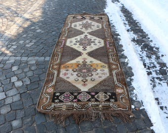 Brown Color Runner Area Rug Free Shipping 3.4 x 9.9 ft. Long Size Rug Handknotted Turkish Rug Bohemian Runner Rug Floor Rug Oushak Rug MB55