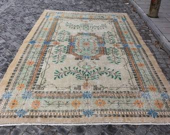 bohemian rug, Free Shipping 6.9 x 10.5 ft. pale color rug, oushak rug, tribal rug, cropped pile rug, area rug, hall rug, boho rug, MB349