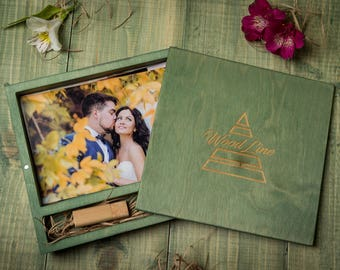 """Personalised 5x7"""" Wooden box for photos and USB stick. Wedding gift. Keepsake Box Wood Picture Box Anniversary Gift for Couple Photo Box"""