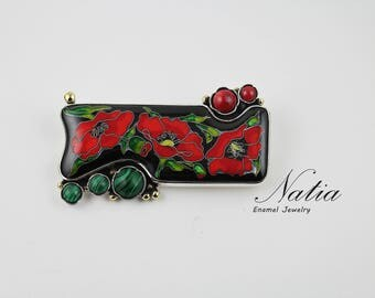Poppies,Cloisonne enamel,Handmade jewelry for women,Brooch-pendant,Gifts for women,Mother day gift,Sterling silver,Gemstone pendant,Coral