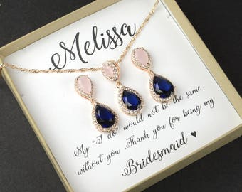 Bridesmaid Gift,Rose gold Bridesmaid Earrings,Bridesmaids Gifts set of  4 5 6 7 8,wedding earrings, bridal earrings ,Navy blue pink