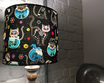 Day Of The Dead Kitty, Timeless Textiles, , Handmade Lampshade; 20cm diameter