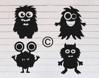 Monsters baby svg, Monster svg, Monster face svg, Birthday svg, Boy svg, Kids svg, Monsters silhouette, SVG, DXF, eps, png, pdf, Monsters