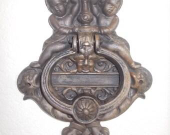 Vintage Brass Door Knocker with Cherubs