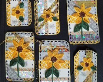 Grand Opening Clearance Sale Quilled Sunflowers high quality handmade Gift Tags placecards favors .75 ea (4.50 set of 6) low shipping USA