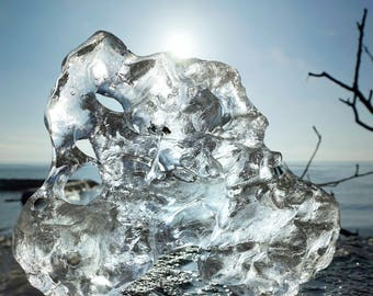Crystal Blue Ice Block - Natural Portrait on the Great Lakes