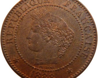 france cérès 2 centimes 1888 paris km #827.1 au(55-58) bronze 20.2 g...