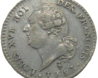 france 15 sols françois 15 sols 1/8 ecu 1791 paris km #604.1 au(50-53) s