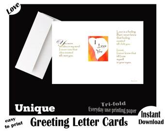 LOVE YOU, Instant Download, Printable, Valentine's Day Greeting LETTER Card, Love Poem, Valentine's Day Poem, Digital, Unique Valentine card