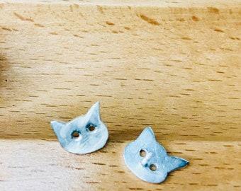 Dainty cat earrings, cat lovers, cat jewelry,kitty earrings, sterling silver cat earrings studs, cat studs, cat lovers, tiny stud earrings