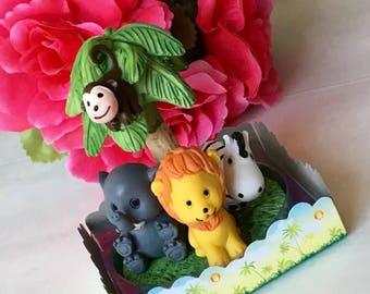 Safari Baby Shower, Babyshower Animal Party Birthday Cake Topper-Resin