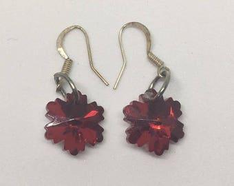 Red Star Burst Earrings