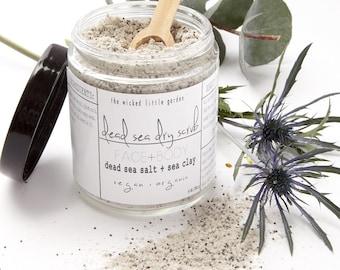 Dead Sea Dry Scrub || organic face + body  exfoliator || vegan bath scrub || all natural bath + beauty