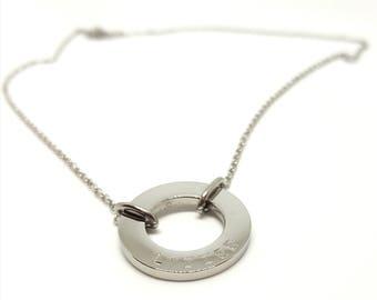 Custom Personalised Circle Pendant Necklace