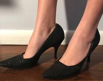 Vampy Vintage Bombshell 60's Black Diamond Heels 7.5