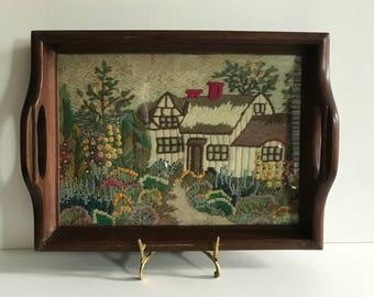 Decorative Vintage Arts & Crafts Tray / Cottage Scene // Needlepoint // Cross Stitch Embroiderey