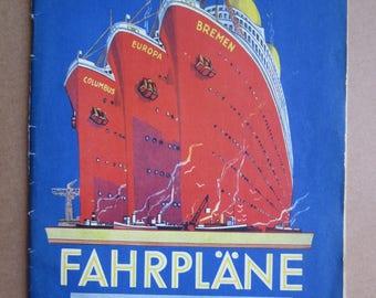 1936 NORDDEUTSCHER LLOYD ship company - steamer Time SCHEDULE   time Schedule y1936