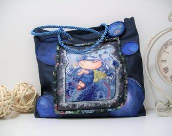 Handmade bag Bag without lock Material bag Eco shopper bag Womens everyday bag Foldover bag Vegan shopper bag Applique pouch Coloring bag