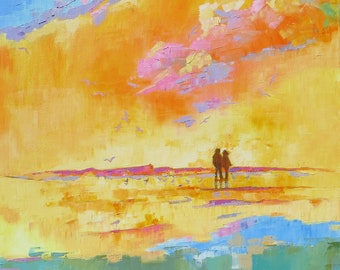 """Impasto Canvas Painting """"Togetherness"""" Modern Art. Romantic Beach Scene. Original Oil Painting 24 x 24. Art for the Living Room."""