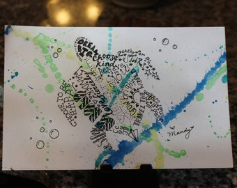 Hand drawn inspirational word art sea turtle on splatter paint back ground and sparkle bubbles