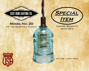 Glass Insulator Pendant Light ~ Brookfield CD 102 ~ Light Aqua ~ Special Item ~ Free Shipping