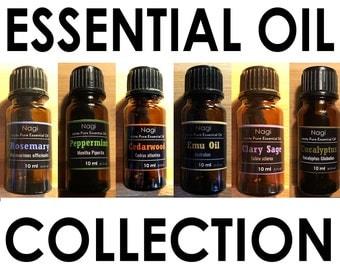 Essential Oils Set of 6 Rosemary,Peppermint,Cedarwood,Emu Oil,Clary Sage,Eucalyptus Great Gift