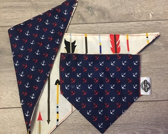 Reversible Anchor and Arrows patterned Dog Bandana