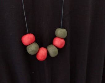 Pink and grey polymer clay bead necklace