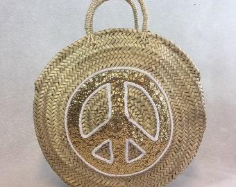 Round basket - basket Peace & Love - sequins - basket basket sequins - round stroh bag - bag - Round straw bag - bag round straw Basket