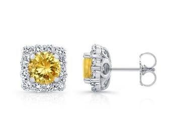 0.75ctw Yellow Sapphire & Diamond Cushion Halo Studs, 14K, 18K, Plt.,  Diamond Halo Earrings, Diamond Stud Earrings, Gold Earrings, Barkevs