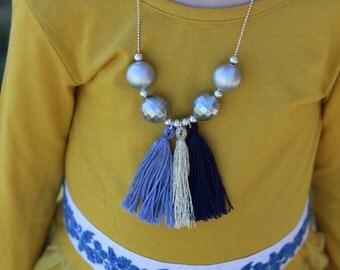Blue/Silver Tassel Necklace