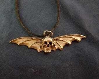 Bat skull pewter necklace