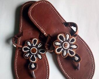 African sandal, beaded sandal ,masai sandal, leather sandal,gift for her,kenyansandal,women sandal