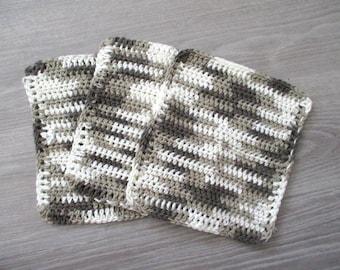 Crochet cotton dish cloths, washcloth set, crochet washcloth set, brown dish cloth, cotton dish rags, cotton washcloth, crochet dish rags