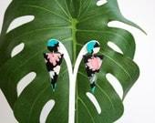 Black geometric earrings, cheese plant earrings, black fashion earrings, black modern earrings, tropical drop statement earrings