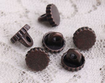 10pcs 7.5*6.5mm tiny buttons metal zinc alloy buttons copper buttons shank buttons jagged edges