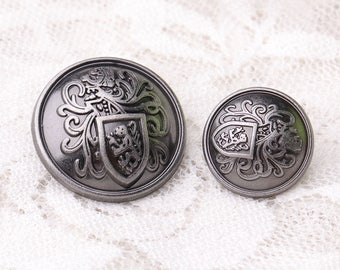 10pcs 2 sizes 21*11/15*10mm metal zinc alloy light black buttons vintage buttons round shank buttons embossed buttons