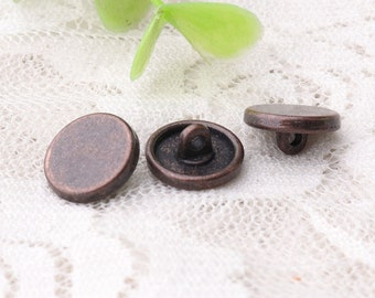 copper buttons 10pcs 11*5mm metal button zinc alloy buttons shank buttons smooth buttons raised edge buttons for sewing clothes shirts