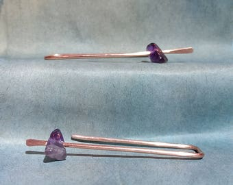 Amethyst and copper threader earring