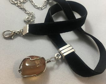 Aragonite Pendant on Velvet Choker