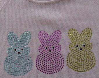 Easter Peep Bunnies Rhinestone Girls sweatshirts