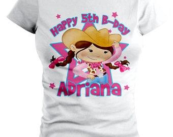 Pink Cowgirl Custom Birthday T-shirt