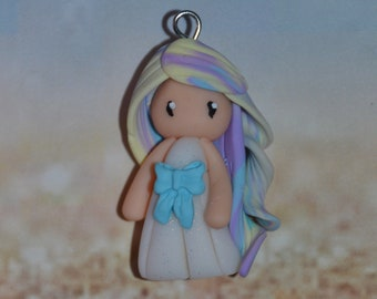 Handmade baby dress white polymer clay, blue bow, hair in yellow, blue, purple - Collection Rainbow - Rainbow