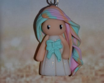 Baby dress white polymer clay, Green bow, hair Rainbow orange, pink, Green - Collection Rainbow - handmade