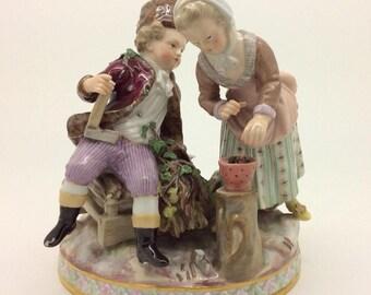 "Antique Meissen Figure Group Winter Season 19th century c1880 13cm 5"""