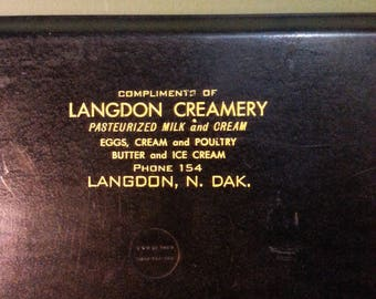 Vintage Langdon, North Dakota Creamery advertising tray.