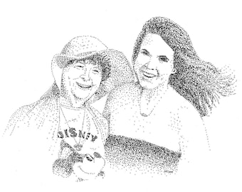 Customized Family Members Pointillism Portrait