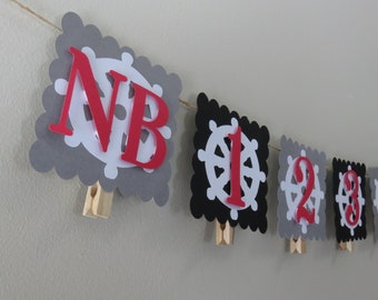Pirate Theme First Year Photo Banner - First Birthday -  Month Photo Banner - First Year - Picture Banner - NB to 12 months