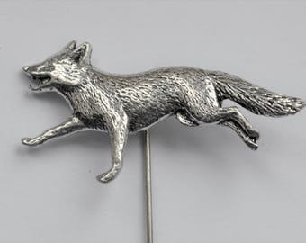 Running Fox Lapel Stick Pin English Pewter, Handmade, Cravat, Tie Pin, GIFT BOXED, Hunting