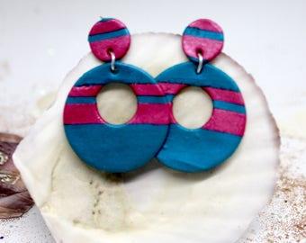 Striped dangle clay earrings